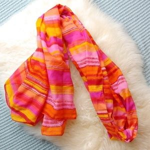 Nine West Bright Striped Scarf in Pink, Yellow